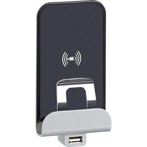 Bticino Livinglight inductieoplader en USB, antraciet