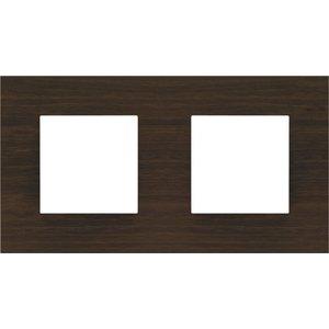 Niko Tweevoudige horizontale afdekplaat,  Pure Dark Bamboo on Anthracite (256-76800)