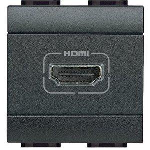 Bticino LivingLight - Contactdoos HDMI 2 mod. Antraciet - L4284