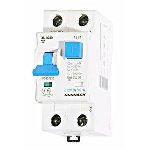 Schrack Differentieelautomaat C 20A 300mA 1P+N A 10kA -