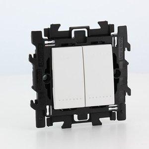 Bticino  LL Dubbele drukknop Compleet met spanklauwen Wit - N4005A2S