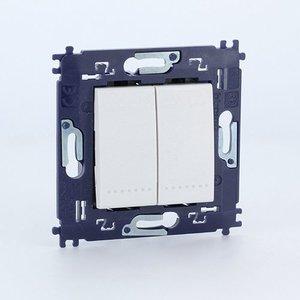 Bticino  LL Dubbele drukknop Compleet met schroeven Wit - N4005A2V