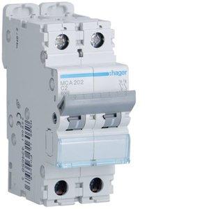 Hager Automaat 6kA - C - 2P - 2A - 2M - MCA202