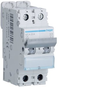 Hager Automaat 6kA - C - 2P - 2A - 2M - MCA204