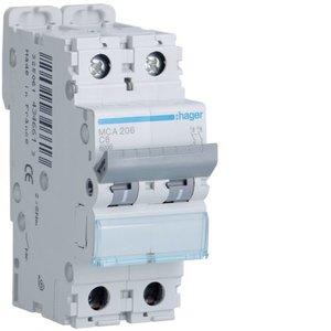 Hager  Automaat 6kA - C - 2P - 6A - 2M -MCA206