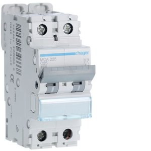 Hager  Automaat 6kA - C - 2P - 25A - 2M - MCA225