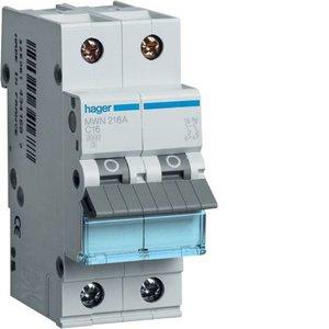 Hager  Automaat 3kA - C - 2P - 16A - 2M  - MWN216A