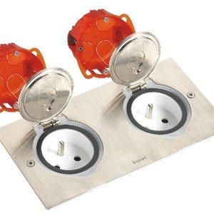 Dubbel Vloerstopcontact Kit inbouwdoos - inox deksel- stopcontact - voor zwevende vloer Set-092111