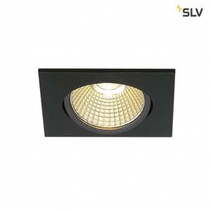 SLV inbouwarmatuur, LED, 3000K, hoekig, mat zwart, 38°, 12W,