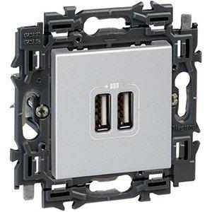 Legrand Valena Next 2 x USB Lader type A Set Alu klauwen - 741634