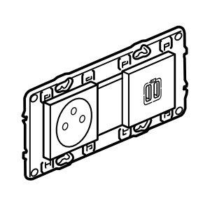 Legrand Valena Next Stopcontact 2P+A+dubbele USB vlak Set Alu schroef - 741635