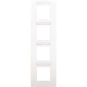 Niko Afdekplaat met doorzichtig tekstveld,  4-voudig verticaal,  wit
