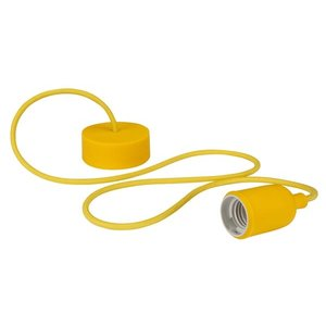 Gele Lamphouder met textielkabel E27 fitting
