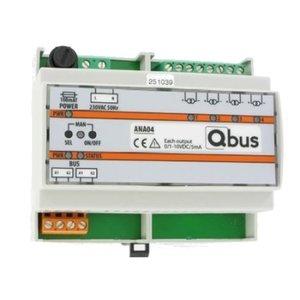 QBUS Analoge dimmermodule (4x 0/1-10V) manuele bediening  LED indicatie ANA04
