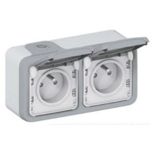 Legrand Plexo Waterbestendig dubbel stopcontact horizontaal grijs