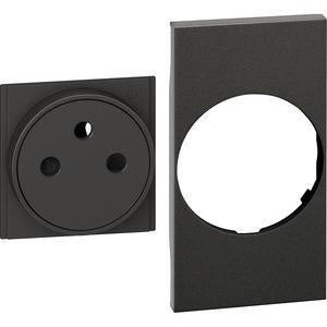 Bticino LivingNow afwerkset stopcontact vlak  2P+A zwart - 2 mod - KG55F