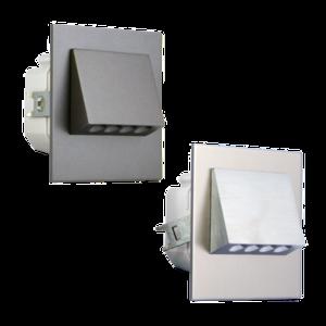 Oriëntatieverlicht. LED halve vierkant 3100K 230V Staal Wit Epoxy 9003