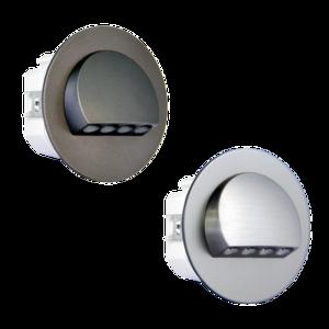 Oriëntatieverlicht. LED halve cirkel  3100K 230V Staal Zilver