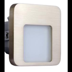 Oriëntatieverlicht. LED vierkant 3100K 230V Staal Zilver