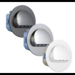 Oriëntatieverlicht. LED halve cirkel  3100K 230V Staal wit Epoxy 9003