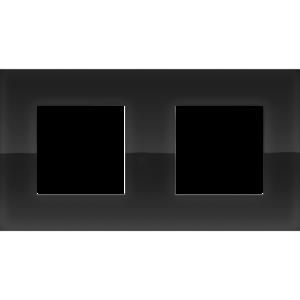 Niko Tweevoudig horizontale afdekplaat Pure liquid black 242-76800