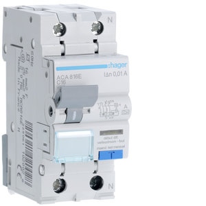 Hager Differentieel 4,5kA 1P+N 16A 10mA type A - ACA816E