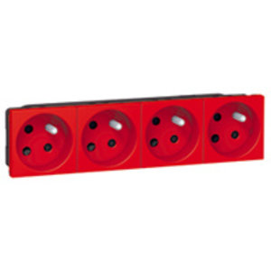 Legrand Mosaic Viervoudig  stopcontact Rood - 077174