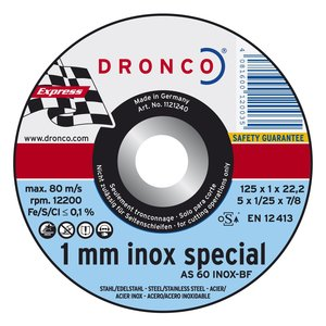 Dronco Dunne snijschijf 125x1,0x22,23mm, metaal en inox, 10 stuks