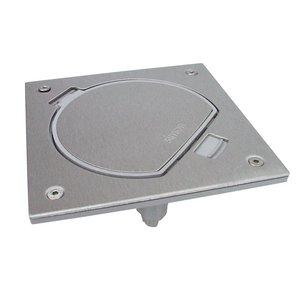 Simon Waterdicht inox vloerstopcontact met RJ45 UTP connector en standaard sluiting, Belgisch Frans stopcontact
