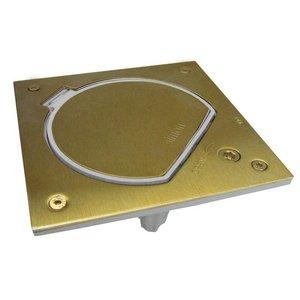 Simon Waterdicht brons vloerstopcontact met RJ45 UTP connector en veiligheids sluiting, Belgisch Frans stopcontact