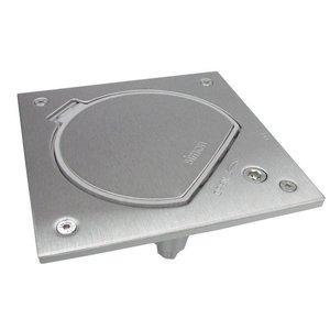 Simon Waterdicht inox vloerstopcontact met RJ45 UTP connector en veiligheids sluiting, Belgisch Frans stopcontact