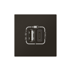 Legrand Mosaic USB lader type A+C 2 mod Zwart 079193L