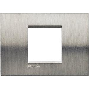 Bticino LivingLight-Afdekplaat  large 2 mod Geborsteld staal