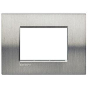 Bticino Afdekplaat 3 modules LivingLight Geborsteld staal