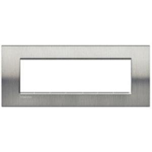Bticino Afdekplaat 7 mod LivingLight Geborsteld staal - LNA4807ACS