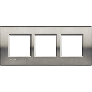 Bticino Afdekplaat 3 x 2 mod LivingLight Geborsteld staal ♥ 57