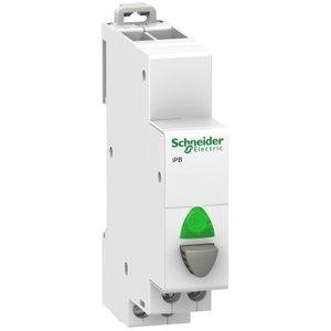 Schneider  Drukknoppen iPB 1NO grijs - lampje Groen - A9E18036