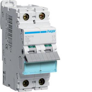 Hager Automaat 10kA - C - 2P - 16A - 2M - NCN216