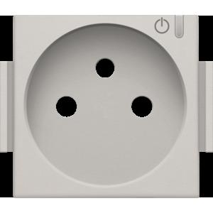 Niko Afwerkingsset voor geconnecteerd schakelbaar stopcontact met penaarde en bedieningsknop, light grey