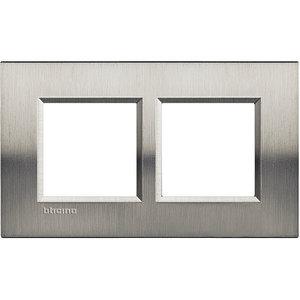 Bticino Afdekplaat 2 x 2 mod LivingLight Geborsteld staal ♥57