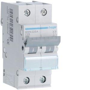 Hager  Automaat 3kA - C - 2P - 25A - 2M  - MWN225A
