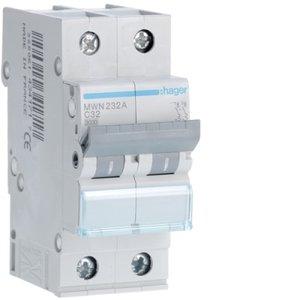 Hager  Automaat 3kA - C - 2P - 32A - 2M  - MWN232A