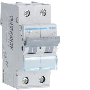 Hager  Automaat 3kA - C - 2P - 40A - 2M  - MWN240A
