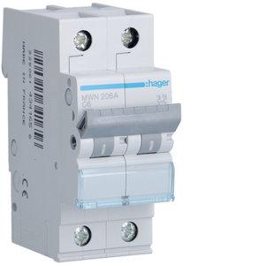 Hager Automaat 3kA - C - 2P - 6A - 2M  - MWN206A