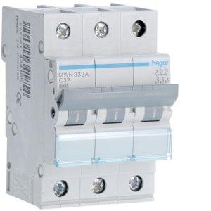 Hager  Automaat 3kA - C - 3P - 32A - 3M  - MWN332A