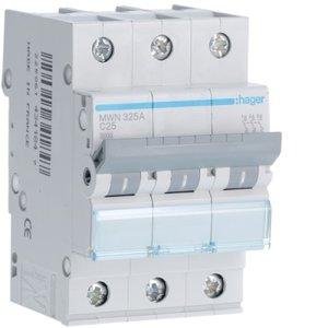 Hager  Automaat 3kA - C - 3P - 25A - 3M  - MWN325A