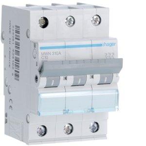 Hager  Automaat 3kA - C - 3P - 10A - 3M  - MWN310A