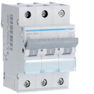 Hager  Automaat 3kA - C - 3P - 6A - 3M  - MWN306A