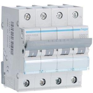 Hager  Automaat 3kA - C - 3P+N - 32A - 4M  - MWN632A