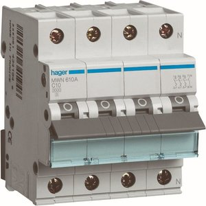 Hager  Automaat 3kA - C - 3P+N - 10A - 4M  - MWN610A